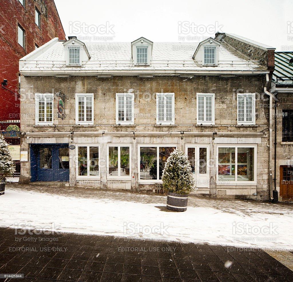 Jardin Nelson Restaurant Facade On Snowy Day Old Montreal Stock