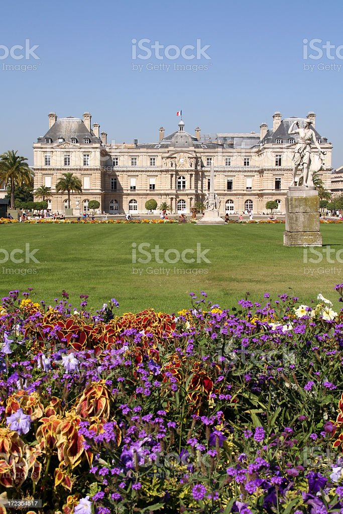 Jardins du Luxembourg with Flowers in Summer, Paris, France royalty-free stock photo