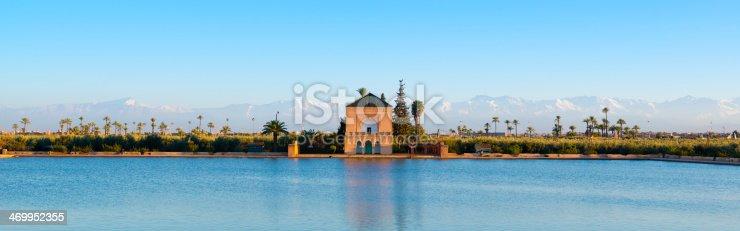 Gardens of Menara and Atlas Mountains panorama, Marrakech, Morocco.