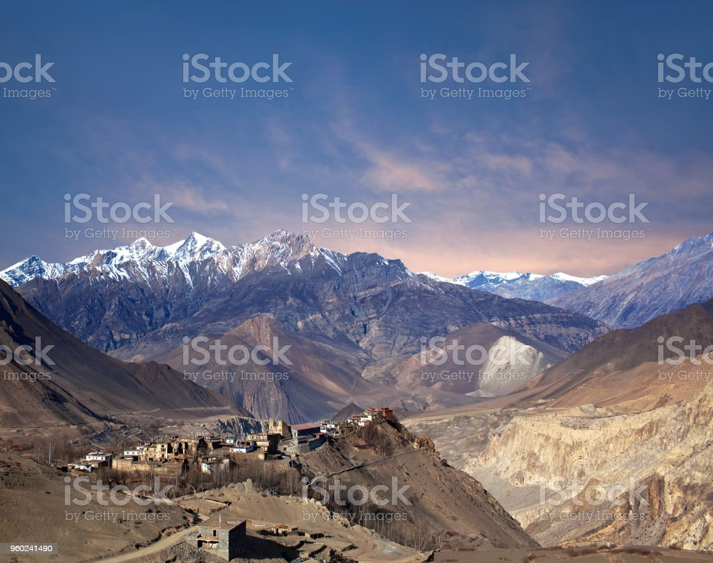 Jarkot village in Mustang district, Annapurna conservation area, Nepal stock photo