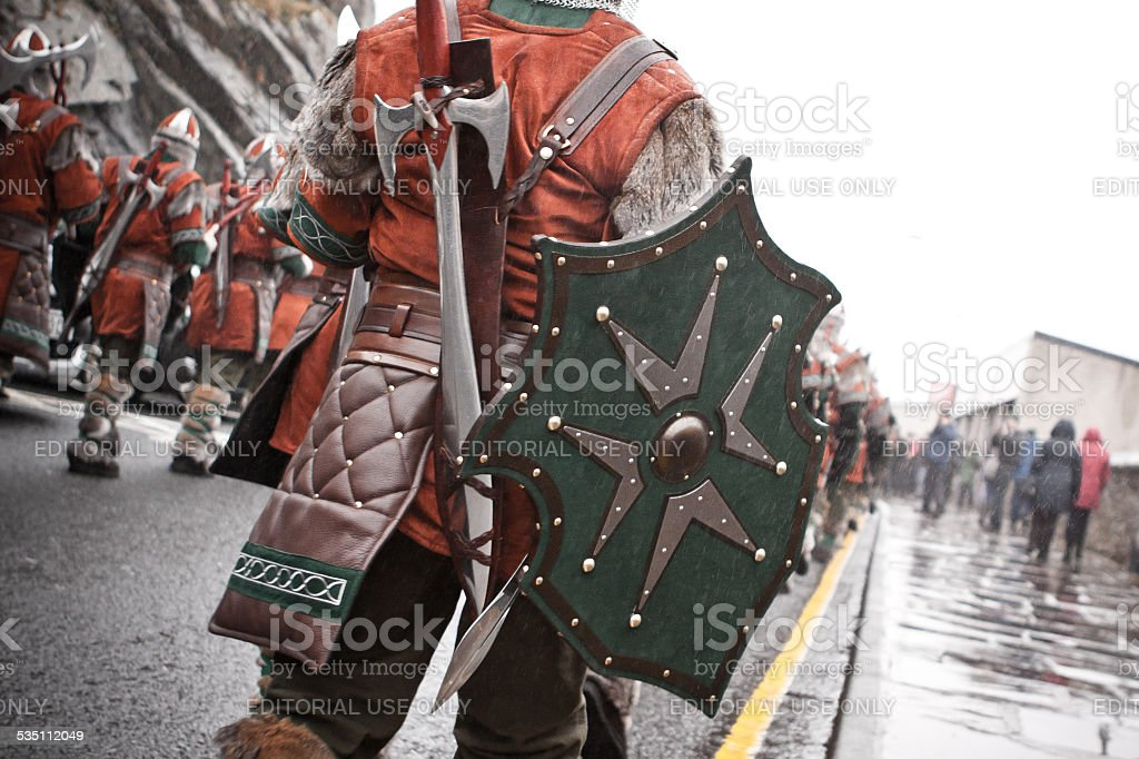 Jarl Squad Marching on Shetland Up Helly Aa day 2015 stock photo