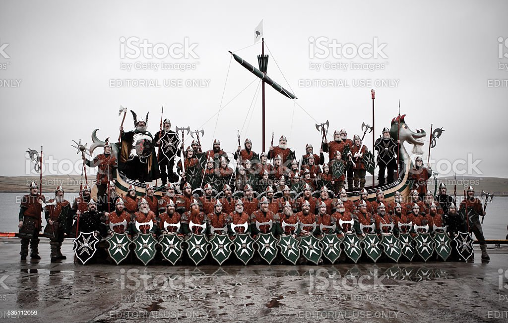 Jarl Squad on Shetland Up Helly Aa day 2015 stock photo