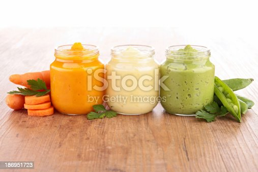 istock Jars filled with baby food made from veggies 186951723