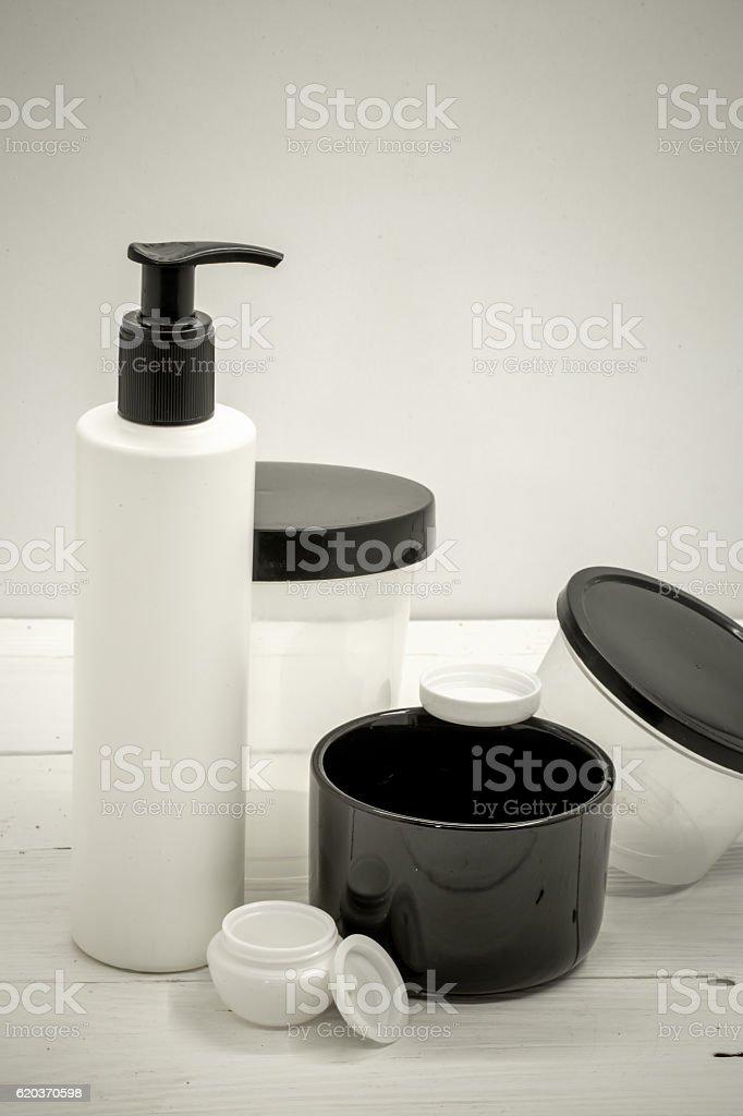 Jars for cosmetics on a white background zbiór zdjęć royalty-free