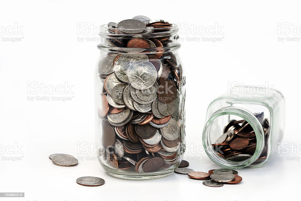 Jars of coins royalty-free stock photo