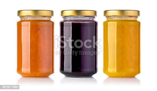 Jasr of  jam isolated on white background with clipping path