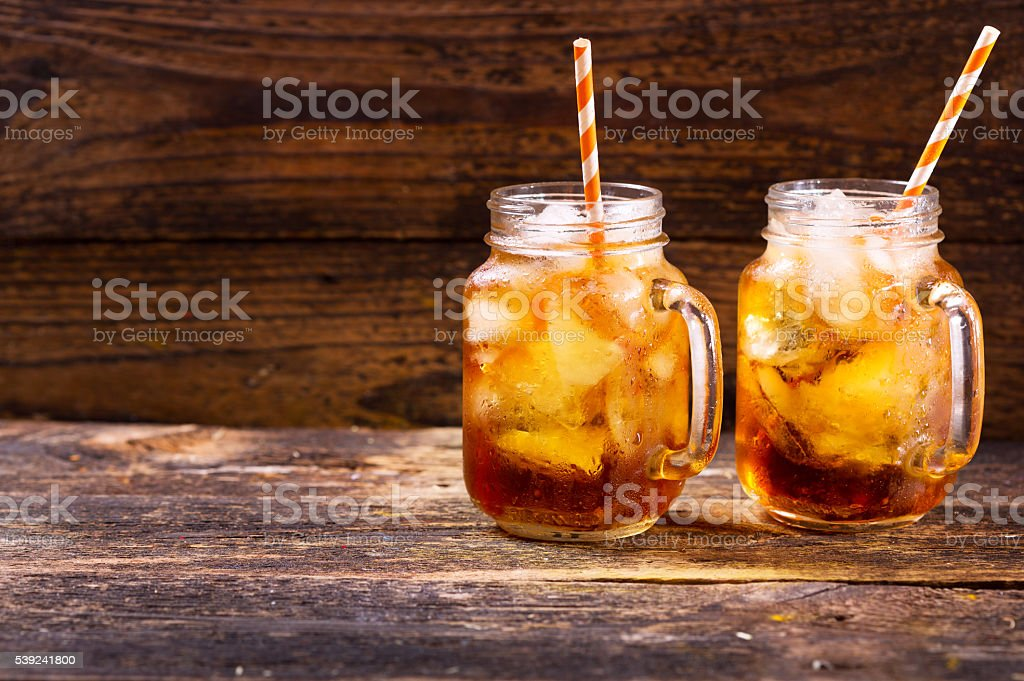 jars of peach iced tea royalty-free stock photo