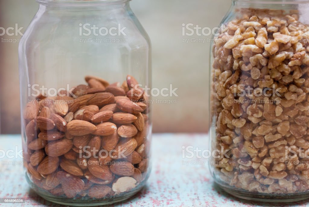 Jars of Walnuts and Whole Almonds foto stock royalty-free