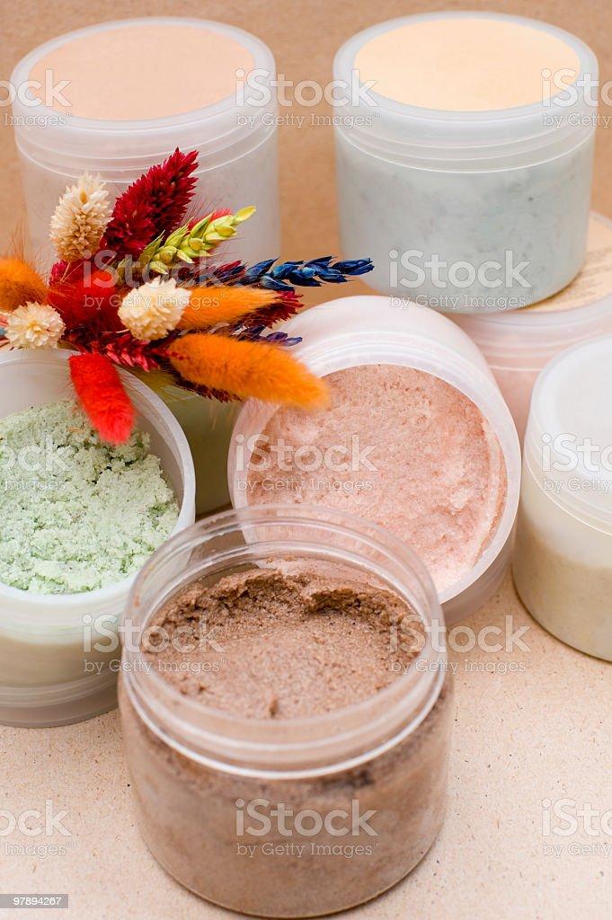 jars with body scrub royalty-free stock photo