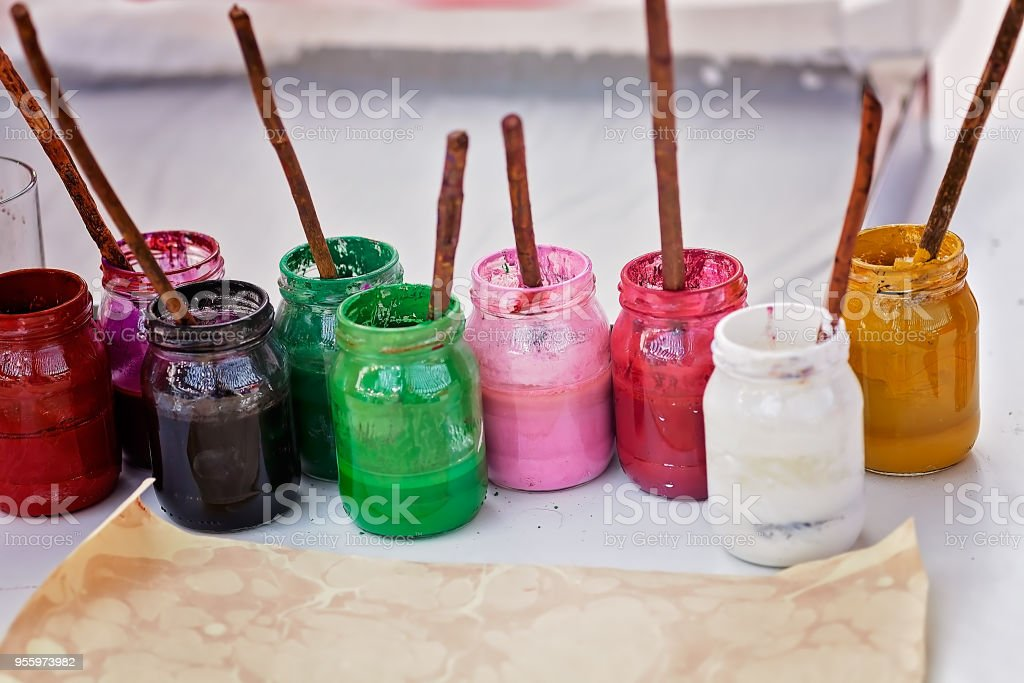 jars with colors stock photo