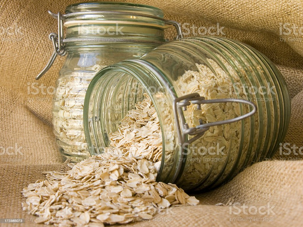 Jars with oats royalty-free stock photo