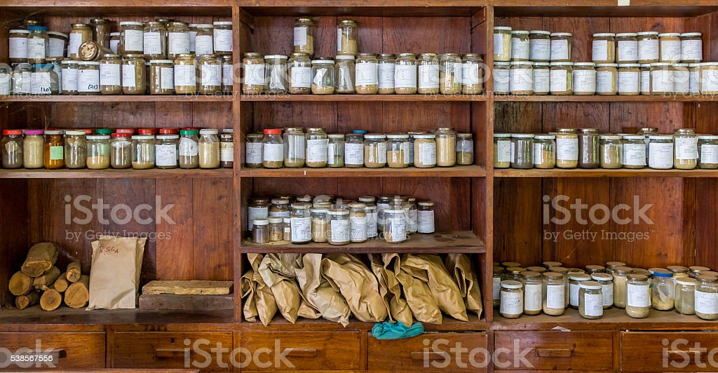 Jars with samples in an old lab stock photo