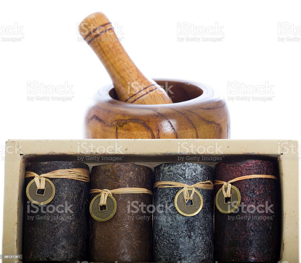Jars with spices and Mortar royalty-free stock photo