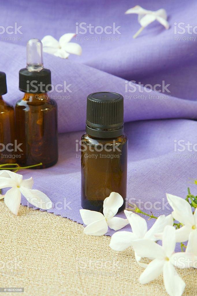 Jasmine essential oil stock photo