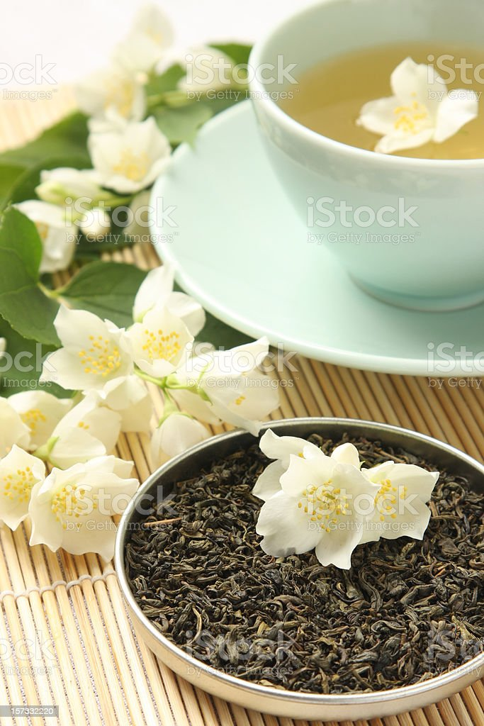 Jasmine green tea stock photo