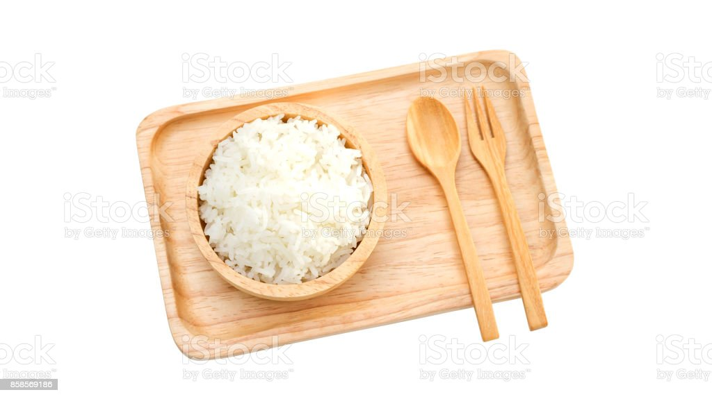 Jasmine rice in a bowl on a white background. stock photo