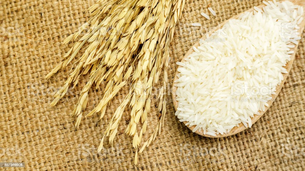 Jasmine rice in a ladle on a wooden table. stock photo