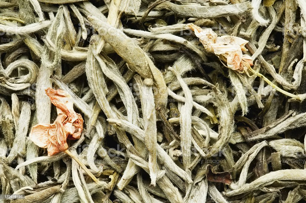 Jasmine tea leaves background from overhead royalty-free stock photo