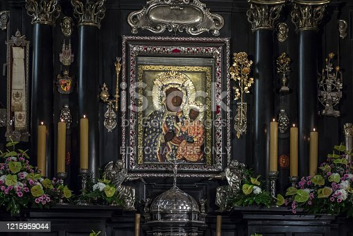istock Jasna Gora Monastery: chapel and Wonderful Image of the Black Madonna of Czestochowa 1215959044