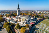 Poland, Czstochowa. Jasna Góra fortified monastery and church on the hill. Famous historic place and Polish Catholic pilgrimage site with Black Madonna miraculous icon. Aerial view in fall