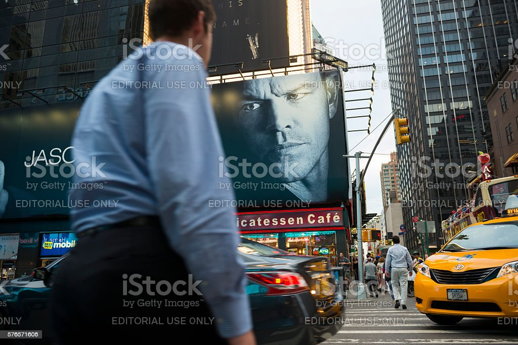 Jason Bourne movie billboard at New York City's Times Square stock photo