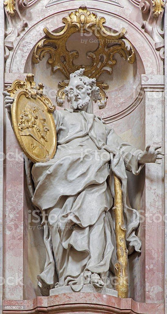 Jasov - Baroque sculpture of Saint Jude Thadeus the apostle stock photo