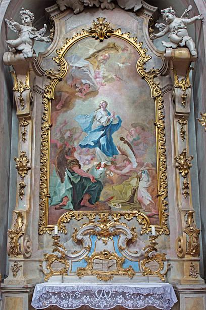 jasov-barocca lato altare e vernice dell'immacolata concezione - ferragosto foto e immagini stock