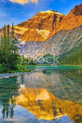 Mt Edith Cavell at dawn in Jasper National Park