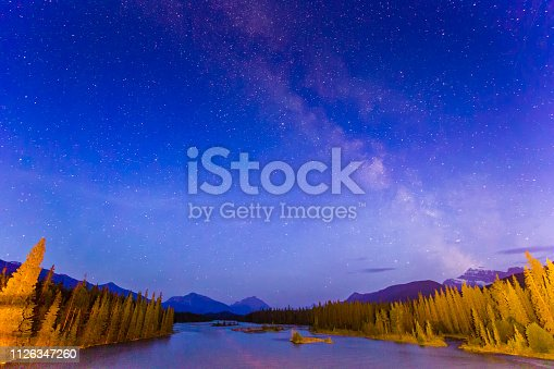 Athabasca River at night in Jasper National Park
