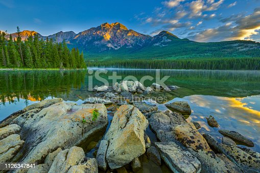 Pyramid Mountain and lake in Jasper National Park, Canada
