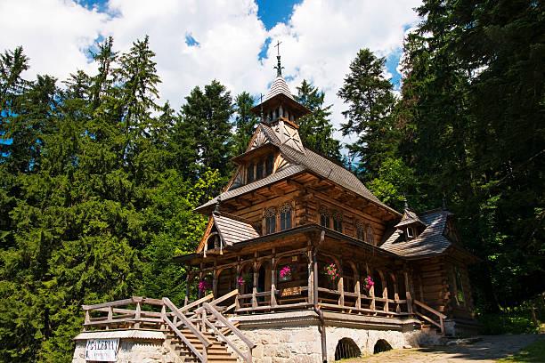 Jaszczurówka, historic church in the Polish Tatras stock photo