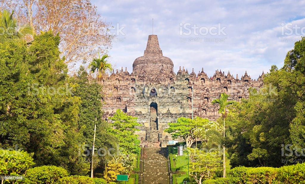 Java Borobudur temple front view panorama stock photo