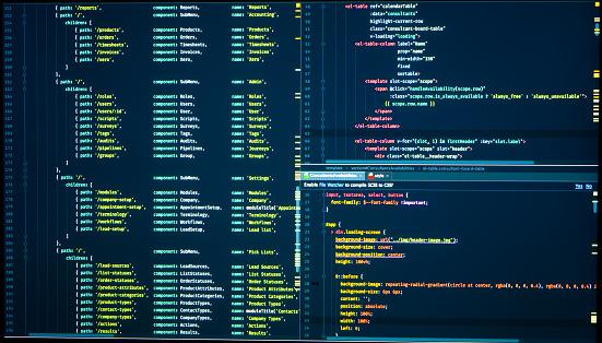 Javascript lines of code for website application. Script language for software development. Vue routes, java routes, vue js routes, markup
