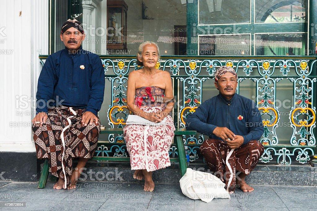 Javanese People Wearing Traditional Clothing at Yogyakarta Palace Indonesia stock photo