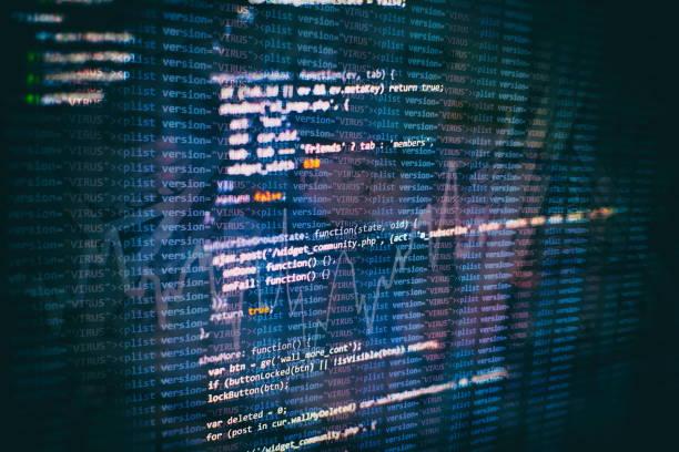 CSS, JavaScript ve HTML kullanımı. Fonksiyon kaynak kodunun çekim Izleyicisi. Soyut BT teknolojisi arka planı. Yazılım kaynak kodu. stok fotoğrafı