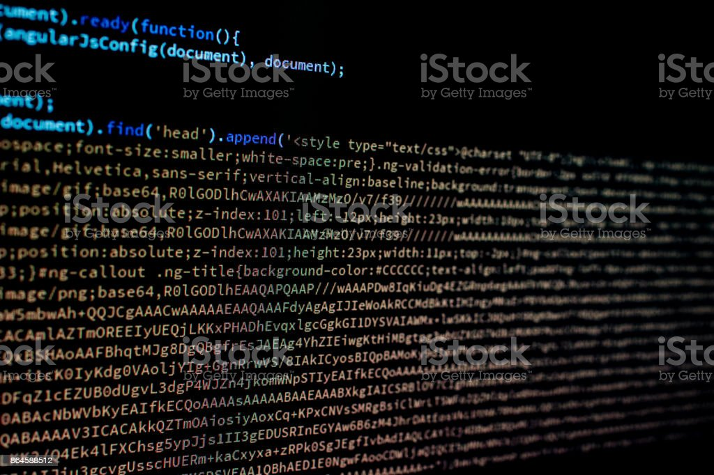 Javascript code in a web application stock photo