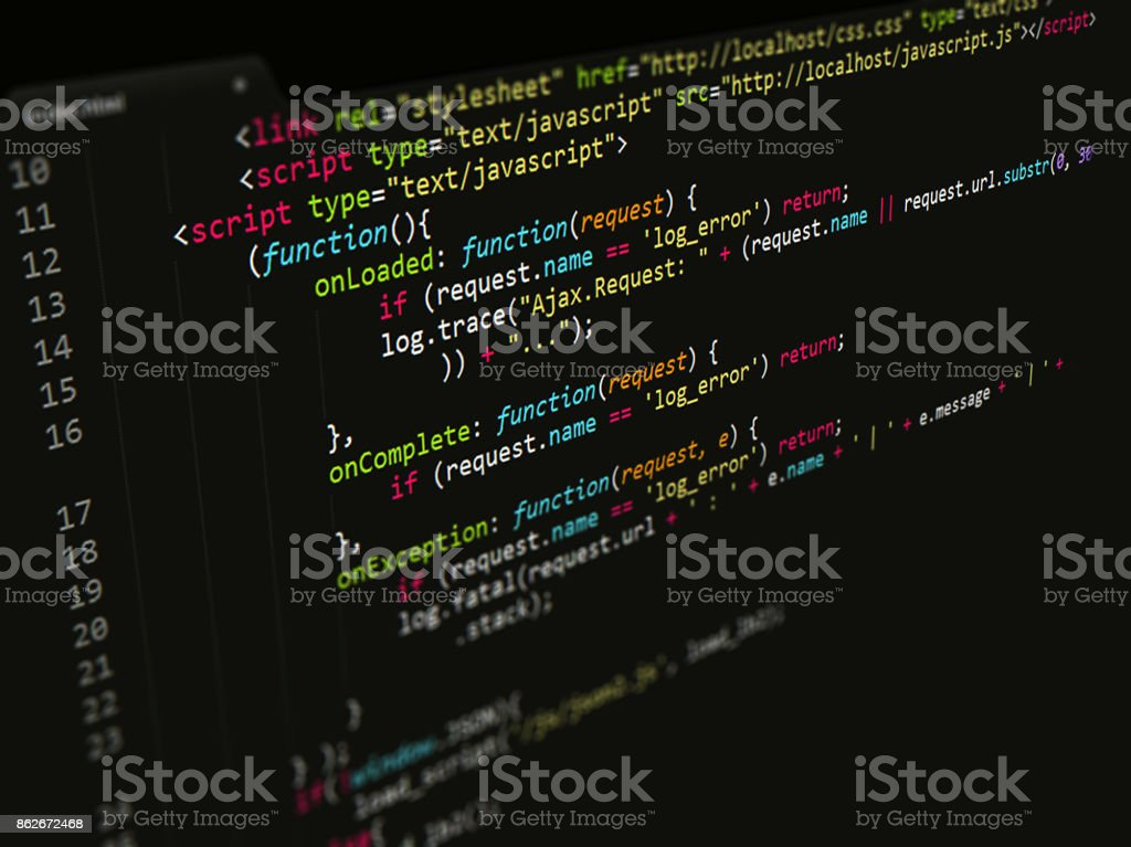 Javascript Code in text editor, Web page Internet Technology stock photo