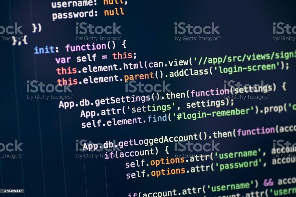 Javascript code on computer screen stock photo
