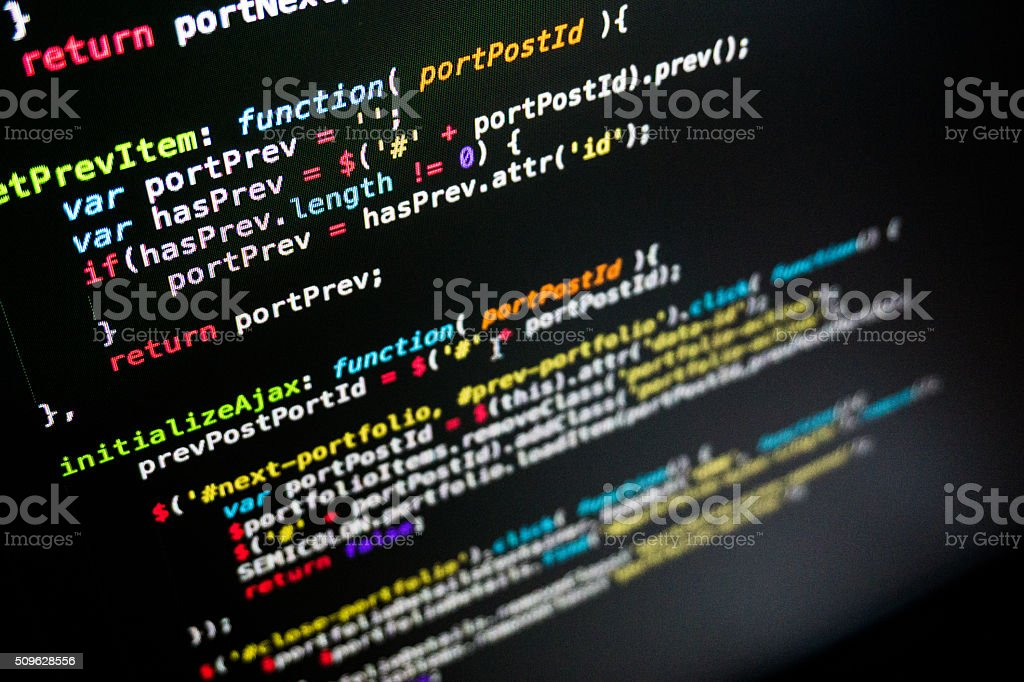Javascript Computer Code stock photo