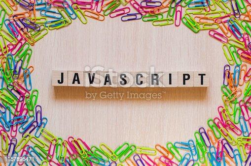 istock Javascript word concept 1157895471