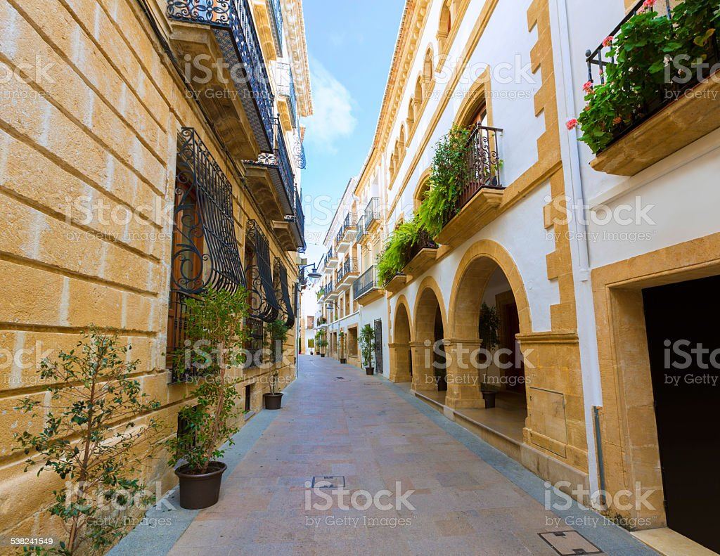 Javea Xabia old town streets in Alicante Spain stock photo