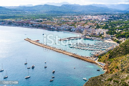 Javea Xabia beach skyline aerial in Mediterranean of Alicante Spain