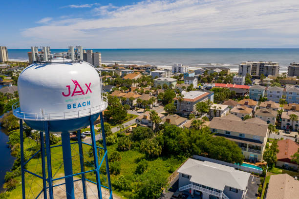 Jax Beach water tower shot with aerial drone