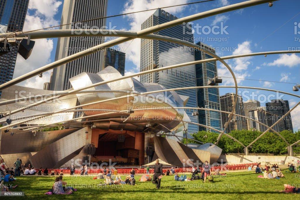 Jay Pritzker Pavilion in Millennium Park in Chicago, Illinois stock photo