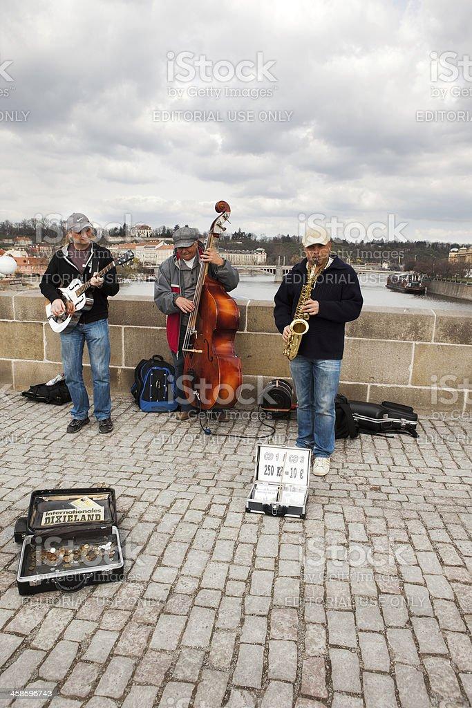Jazz Band on Charles Bridge, Prague stock photo