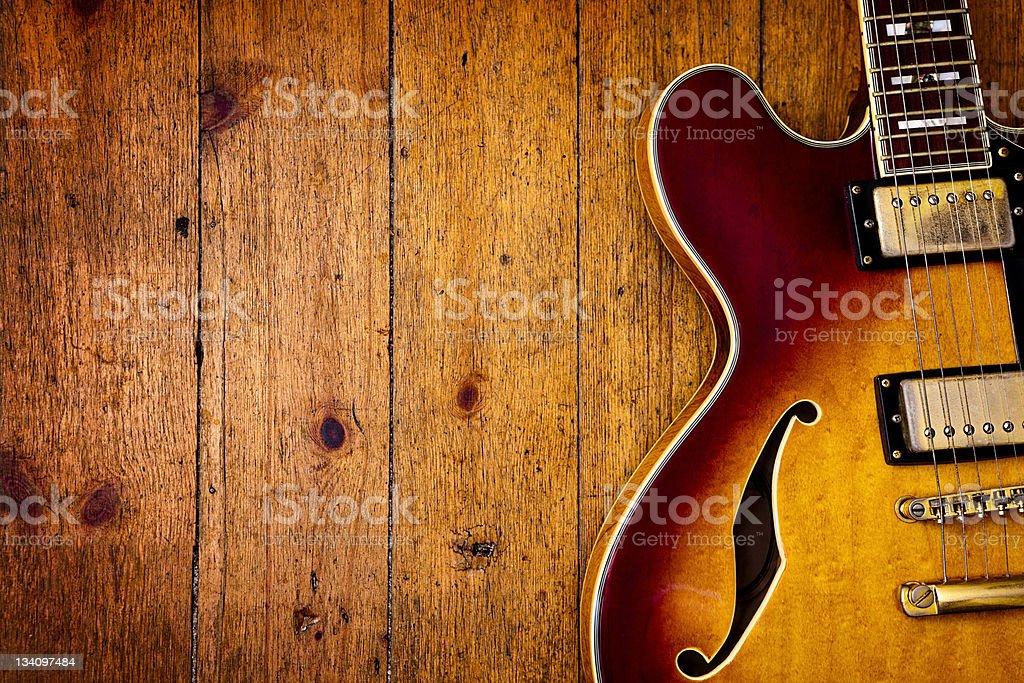 Jazz blues guitar on wood stock photo