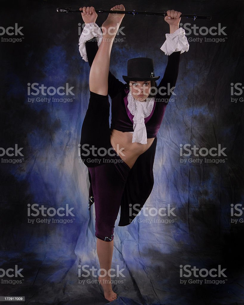 Jazz dance with cane and top hat stock photo