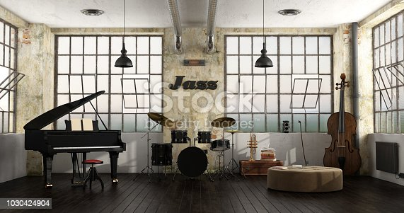 Grand piano, drums and double bass in a loft - 3d rendering\nNote: the room does not exist in reality, Property model is not necessary