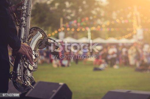 jazz musician playing the saxophone Beautiful voice