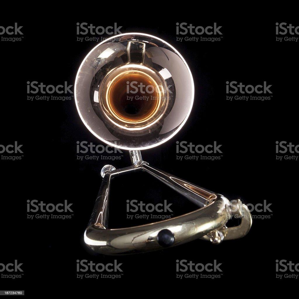 Jazz music trombone isolated on black stock photo